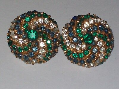 Vintage ART Blue, Green and White Rhinestone Pinwheel Circle Clip-On Earrings