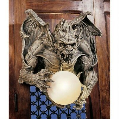 Gothic Gargoyle Holding Glass Orb Lamp Medieval Wall Illuminated Sculpture