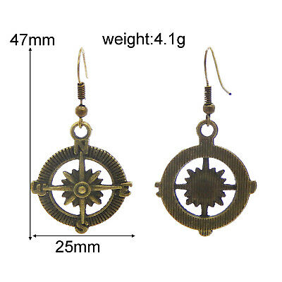 1 Pair Jewelry Hollow Silver&Bronze Compass Alloy Dangle Earring Hook Crafts
