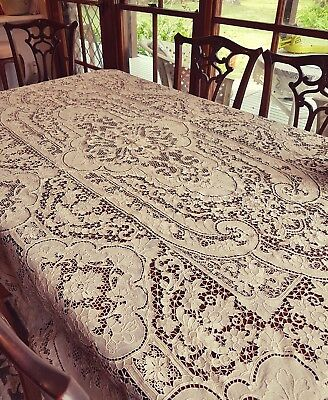 Antique Ecru Museum Piece Italian Point De Venise Table Cloth Needlelace Venice