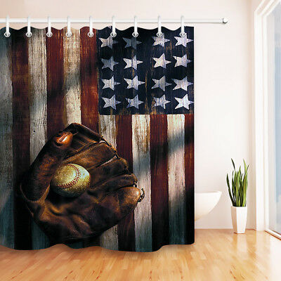 Baseball grand arena Shower Curtain Bedroom Waterproof Fabric /& 12 Hooks 71*71in