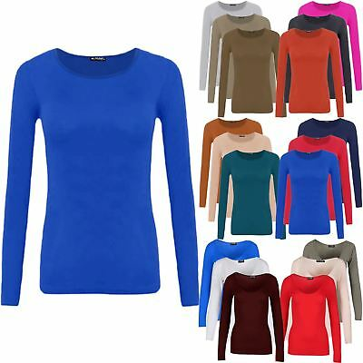 Ladies Womens Plain Round Neck Celebrity Stretchy Long Sleeves Tee T-Shirt Top