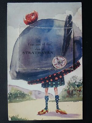 Scotland STRATHAVEN 12 Image NOVELTY Clan PULL-OUT c1915 Postcard