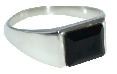 925 Sterling SILVER Black Onyx Gents Ring, Emerald Cut,All Mens Sizes M to Z5 15