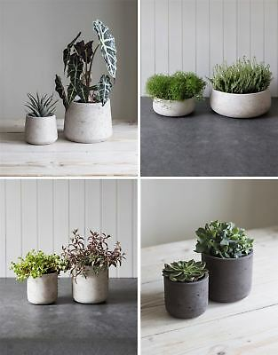 Garden Trading Set of 2 Stratton Plant Pots Bowls Stone Cocoa Cement All Colours