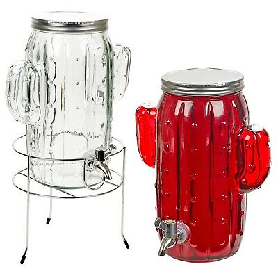 2 x 4L Glass Cactus Beverage Drink Dispenser Jars Support Stand Cocktail Party