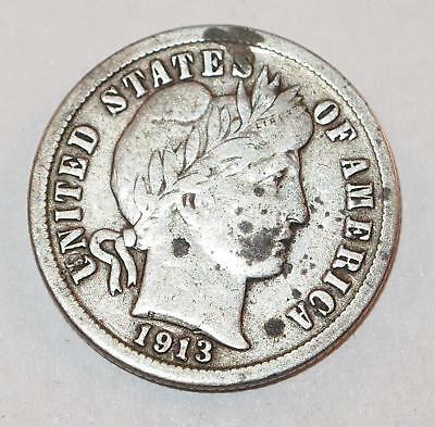 1913 BARBER LIBERTY HEAD Dime 10 Cents Ten Cent 90% Silver Coin