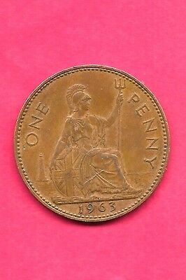 Great Britain Gb Uk Km897 1963 Vf-Very Nice Old Vintage Large Penny Coin