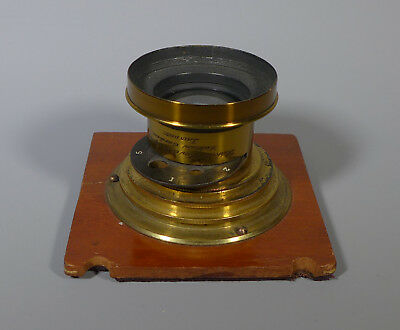 """Fine 19Th C. Lacquered Brass Plate Camera Lens Perken, Son Rayment """"optimus"""" 7X5"""