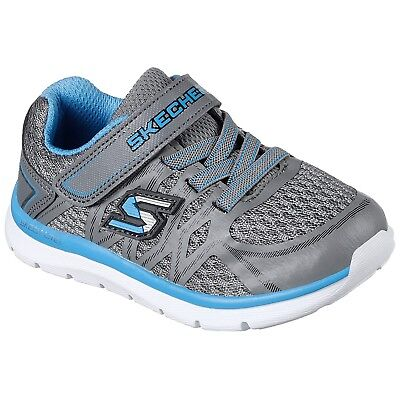 Boys Skechers Quick Leap Charcoal/Blue Adjustable Strap Trainers 95046N/Ccbl