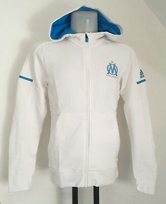 Olympic Marseille 2017/18  White Anthem Squad Jacket By Adidas Extra Small New