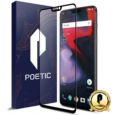 Poetic For OnePlus 6 Ultra thin [HD Clear] Tempered Glass Screen Protector Black