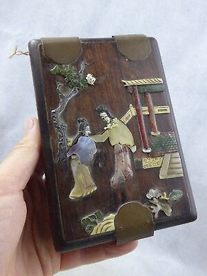 Chinese Antique Wooden Box with inlaid Carved Hardstone design Qing - Fine