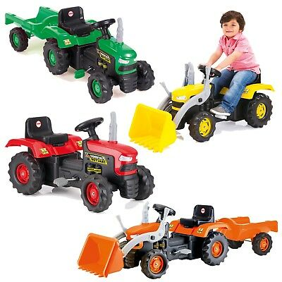 Dolu Children's Ride On Tractor Pedal Operated Toy Age 3+ Years Outdoor Garden