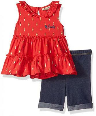 Lucky Brand Infant Girls Pink Tunic 2pc Jegging Set Size 12M 18M 24M