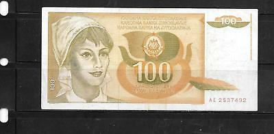 Yugoslavia #105 1990 100 Dinara Vg Used Currency Banknote Bill Note Paper Money