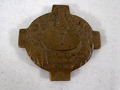 Old Vintage Bronze German Communion Cross Do This in My Memory Jesus Disciples