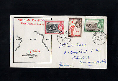 Tristan Da Cunha - 1958 - First Postage Stamp - First Day Cover - Cds Postmarks