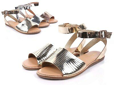 5021badd053 Gold Sexy Women Open Toe Strappy Ankle Buckle Closure Gladiator Sandal Size  6