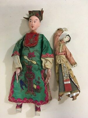 2 Vintage Composition Wood Oriental Chinese Dolls (A91)