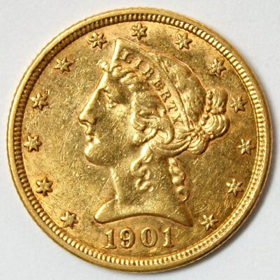1901 $5 Liberty Head Gold Coin * Half Eagle * Lustrous Coin * FREE SHIPPING