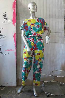 Alba Moda Overall Blumen 80er True VINTAGE 80s women jumpsuit flowers cotton
