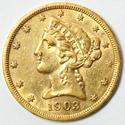 1903-S $5 Liberty Head Gold Coin * Half Eagle * Lustrous Coin * FREE SHIPPING