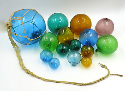 Vintage Blown Glass Balls or Fishing Floats Multi Colored