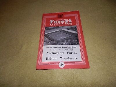 Nottingham Forest v Bolton Wanderers- FA Cup 6th Round in 1958/59 at City Ground
