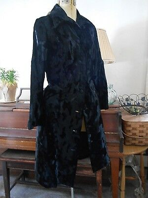"Vintage 1940's Designer Velvet Brocade like Long fit COAT B 34"" Gothic Victorian"