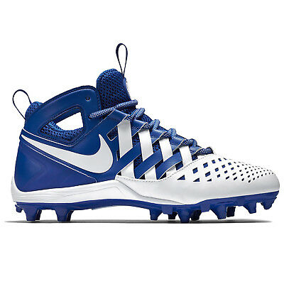 New Nike Huarache V LAX Mid Mens Lacrosse Cleats LX - White Blue - Size 12