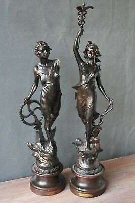 pair of large tall french antique spelter figure wood base statue art nouveau
