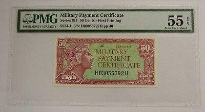 Series 611 - 50 Cents - Military Payment Certificate MPC - PMG AU 55 EPQ