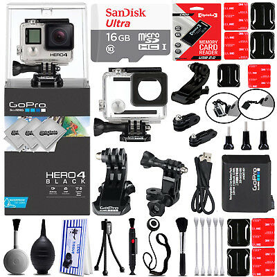 GoPro Hero 4 Hero4 Black HD Digital Camera w/ 16GB 24PC Sport Action Bundle