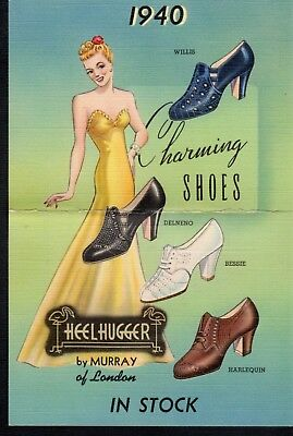 C527 File folded Linen 4.5X6.5 in 1940 Charming Shoes by Murray of London