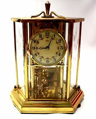 Vintage Brass, Mirror and Glass KUNDO Anniversary Carriage Clock with Key  - W17
