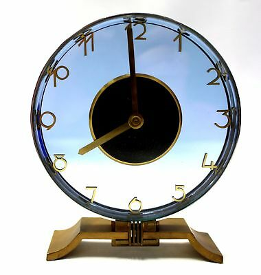 Vintage ART DECO Style Brass and Blue Glass Signed MANTLE CLOCK  - S31