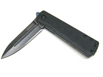Kershaw Black Barstow Straight Assisted Blackwash Folding Pocket Knife 3960