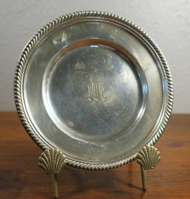 "Gorham Sterling Silver English Gadroon Bread & Butter Plate Monogram ""M"""