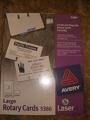Avery Large Rotary Cards 5386 Laser Ink Jet Compatible Sealed Box 50 Sheets 150
