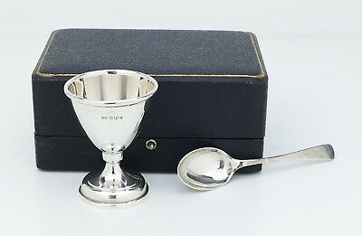 Vtg. English Sterling Silver ~Walker & Hall~ Christening Egg Cup & Spoon in Case