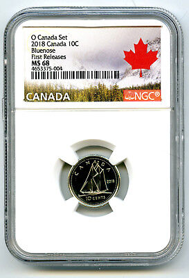 2018 O Canada 10 Cent Dime Ngc Ms68 First Releases Rare Pop=8