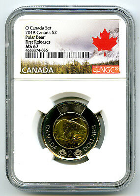 2018 O Canada $2 Polar Bear Toonie Ngc Ms67 First Releases Pop Only 10