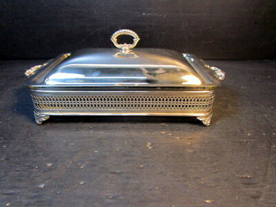 Antique Sheffied Silver Company Serving W/ Anchor Hocking Glass Serving