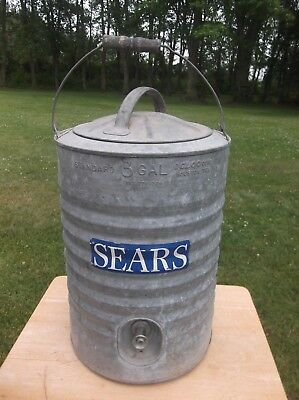 Vintage Sears 3 Gallon Igloo Water Cooler Insulated Galvanized w/ Wooden Handle
