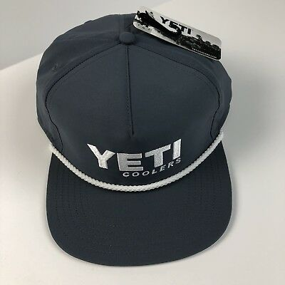 38561936161 Yeti Coolers Mens Hat baseball cap Gray NWT Adjustable Rope Flat bill  Authentic!