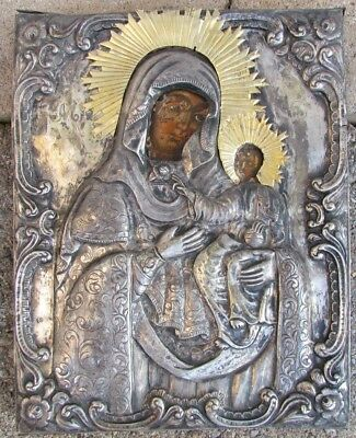early 19th CENTURY ANTIQUE GREEK ICON of MOTHER of GOD w/ SILVER OKLAD 515 grams