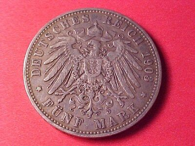 German States Prussia 5 Marks Silver 1903-A Nice Original
