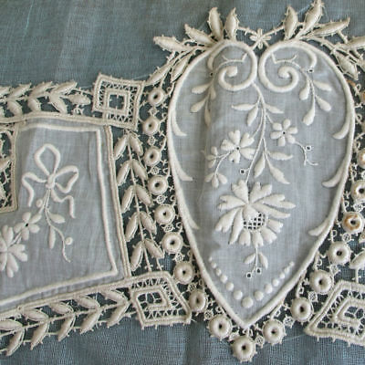 """Antique c1920s French Hand Embr Whitework LACE Panel 24"""" Swags BOWS Ikle Freres"""