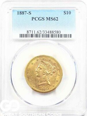 1887-S PCGS Gold Eagle, $10 Gold Liberty PCGS MS 62 ** Free Shipping
